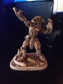 Got drunk in Mexico Bought a statue of predator flexing made of bone No regrets