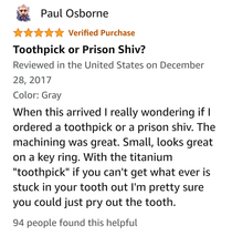 Got Lost on amazon and ran into the untapped market of titanium toothpicks or shivs