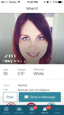 Got matched with her on eharmony Is it just me or does she share a sparkling resemblance to someone