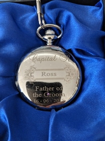Got my dad a pocket watch for my wedding at the weekend Asked for an engraved capital R at the top They took the instruction a bit too literally