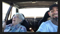 Grandmas hysterically funny reaction to the fast car ride