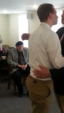 Grandpa was clearly thrilled to attend his first gay wedding yesterday