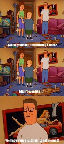 Hank Hill on his sons underage drinking