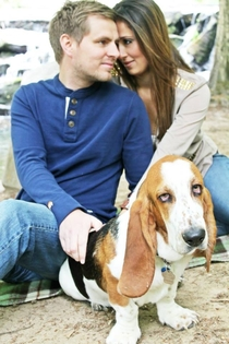 Happy couple upload over  wedding pictures to Facebook The dogs expression speaks for us all