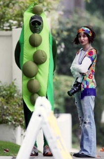 Harrison Ford dressed as a pea in a pod
