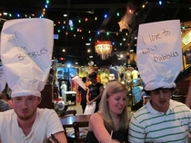 Hats given to us by our waitress at Dicks Last Resort - Panama City Beach FL