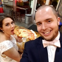 He thinks were here to get married Im just here for the pizza