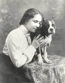 Helen Keller and her cat Mittens