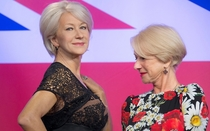 Helen Mirren busted checking out the attributes of a wax Helen Mirren