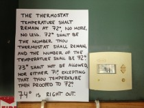 Her boss demanded she make a sign for the thermostat and it needed to always be set at
