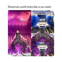Her outfit looks like a car wash