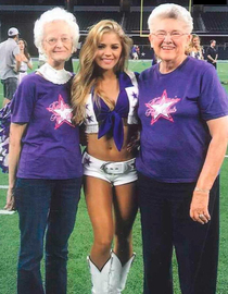 Heres a photo of a current Cowboys cheerleader with two cheerleaders from their last Superbowl Team