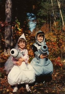 Hi Reddit This is a picture of my sister and I as a Princess and Knight riding horses halloween