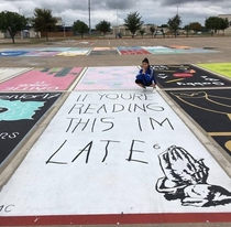 High school seniors painted parking spots