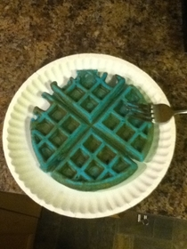Home alone on New Years so I made blue waffles