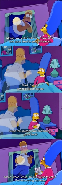 Homer has to make one good deed to get into heaven