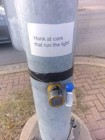 Honk at cars that run the light