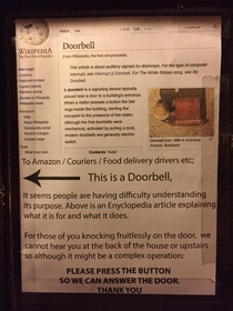 Housemate put this sign on our door after Amazon repeatedly posted sorry we missed you cards whilst we were home