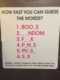 How fast you can guess these words
