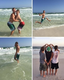 How girls take pictures at the beach