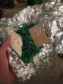 How my mother wrapped a chipotle gift card