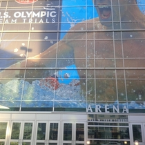 HUGE US swim trials window graphic in Omaha One sneaky death star under the armpit