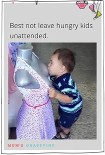 Hungry kid left unattended