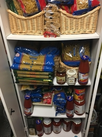 I asked my mom what  Italian we are She proceeds to send me this we have another pantry with homemade sauce and oil