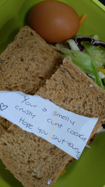 I asked my wife to put abusive notes in my lunchbox instead of the usual soppy love notes This is day