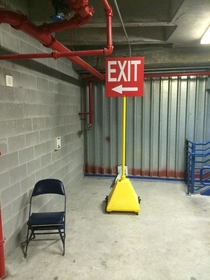 I can only guess this exit is reserved for the Kool-Aid man