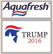 I cant be the only one who sees the aquafresh logo on top of trumps head