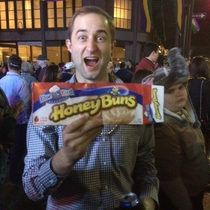 I caught a box of honey buns at a Mardi Gras parade last night The kid behind me was not amused
