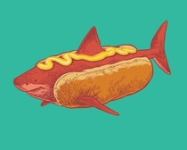 I drew a hotdog shark with mustard