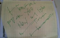 I finally found my long lost Mitch Hedberg autograph For those unable to decipher it it says Fuck you now Im late