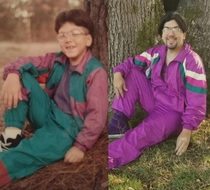 I found this tracksuit at Goodwill Had to try and recreate this childhood photo circa