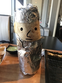 I gave my burrito a hat