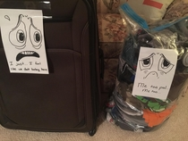 I get super artsy when my wife leaves luggage in the living room for two weeks