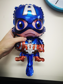 I give you Captain Americck the most awkwardly inflated balloon in my kindergarten