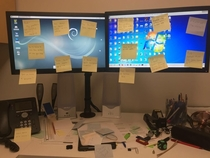 I got a call to go help someone with an IT problem so I went to check it out Little did I know the non-IT staff had planned it so they could surprise me for System Admin IT Appreciation Day with funnyannoying notes all over my monitors and desk