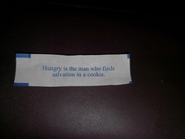 I got a dose of harsh reality from my fortune cookie