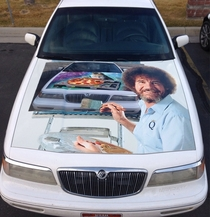 I had a contest on Facebook to determine how to wrap the hood of my  Grand Marquis I wrapped it with the winning entry today