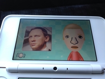 I had a picture on my phone of the Daniel Craig waxwork decided to take a pic of my phone and turn it into a Mii