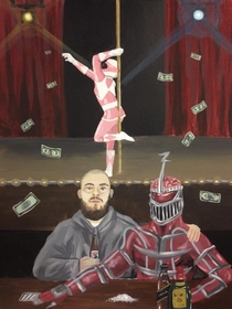 I had commissioned a painting of Lord Zedd the Pink Ranger and myself Im very happy with the finished piece