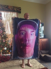 I have seen a lot of blankets on reddit today so here is my dads gift to my younger sister He calls it the birth control blanket