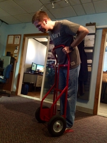 I heard a coworker say This Segway is terrible I turned around and found him like this
