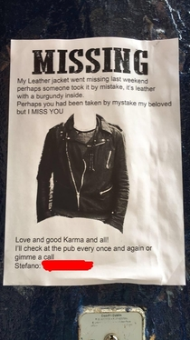 I hope this lad found his leather jacket