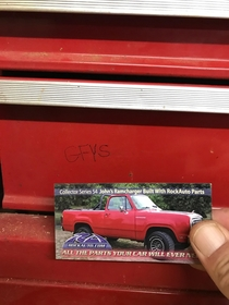 I inherited a toolbox from my dad after he died I used to tease him about his awful hillbilly magnets he had on it After all these years I finally pulled this one off and found a message from him under it it stands for Go Fuck Yourself Good one pop