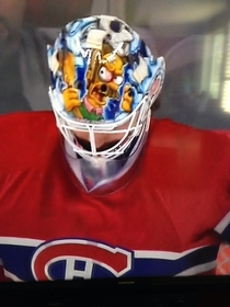 I just noticed the Canadiens goalies helmet His name is Flanders