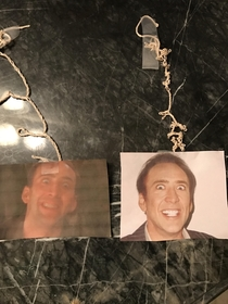 I just turned my bedroom ceiling fan on with the lights off and heard a weird noise I turned the light on and saw my  year old daughter had taped these pictures to the top of the fan blades as an early April Fools joke