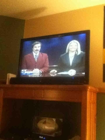 I KID YOU NOT RON BURGANDY CO-HOSTED OUR NEWS IN BISMARCK ND TONIGHT
